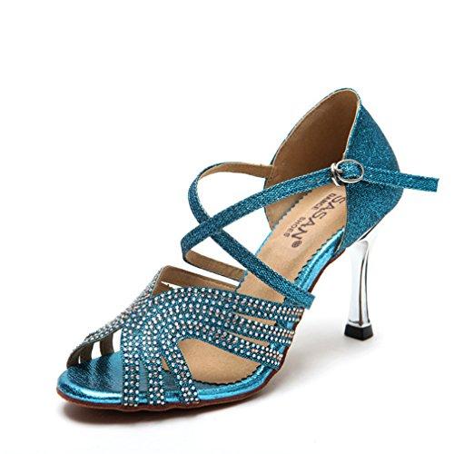 de Mujeres Baile de Zapato Cuero de Modern Latino Zapatos Zapatos Baile Tacón Alto de de Baile BYLE Samba Jazz Adultas Tobillo de 35 de Latino Zapatos Sandalias Baile THx1wUZ