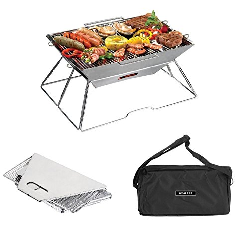 Wealers Compact Folding 16.5 X 12.5 Inch Charcoal BBQ Grill Made from Stainless Steel. Portable and Great for Camping, Picnics, Backpacking, Backyards, Survival, Emergency Preparation.