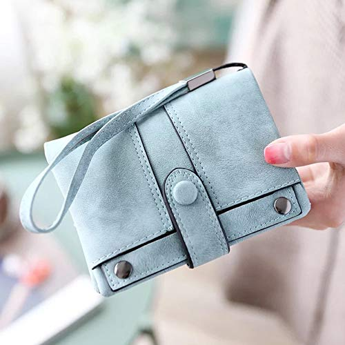 IFUNLE Womens Soft Leather Short Wallet Card Holder Change Cash Organized Large Capacity Zipper Buckle Travel Coin Purse with Detachable Wrist Strap (Light green #2) by HILINKER (Image #2)
