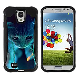 iDesign Rugged Armor Slim Protection Case Cover - Cute Neon Cat - Samsung Galaxy S4