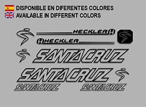 Ecoshirt LD-WG9U-PNMD Adesivi Santa Cruz Heckler F140 Vinile Adesivi Decal Aufkleber Abbigliamento MTB Stickers Bike Nero