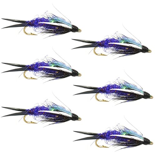 The Fly Fishing Place Double Bead Purple Psycho Prince Nymph Fly Fishing Flies - 6 Flies Hook Size 12