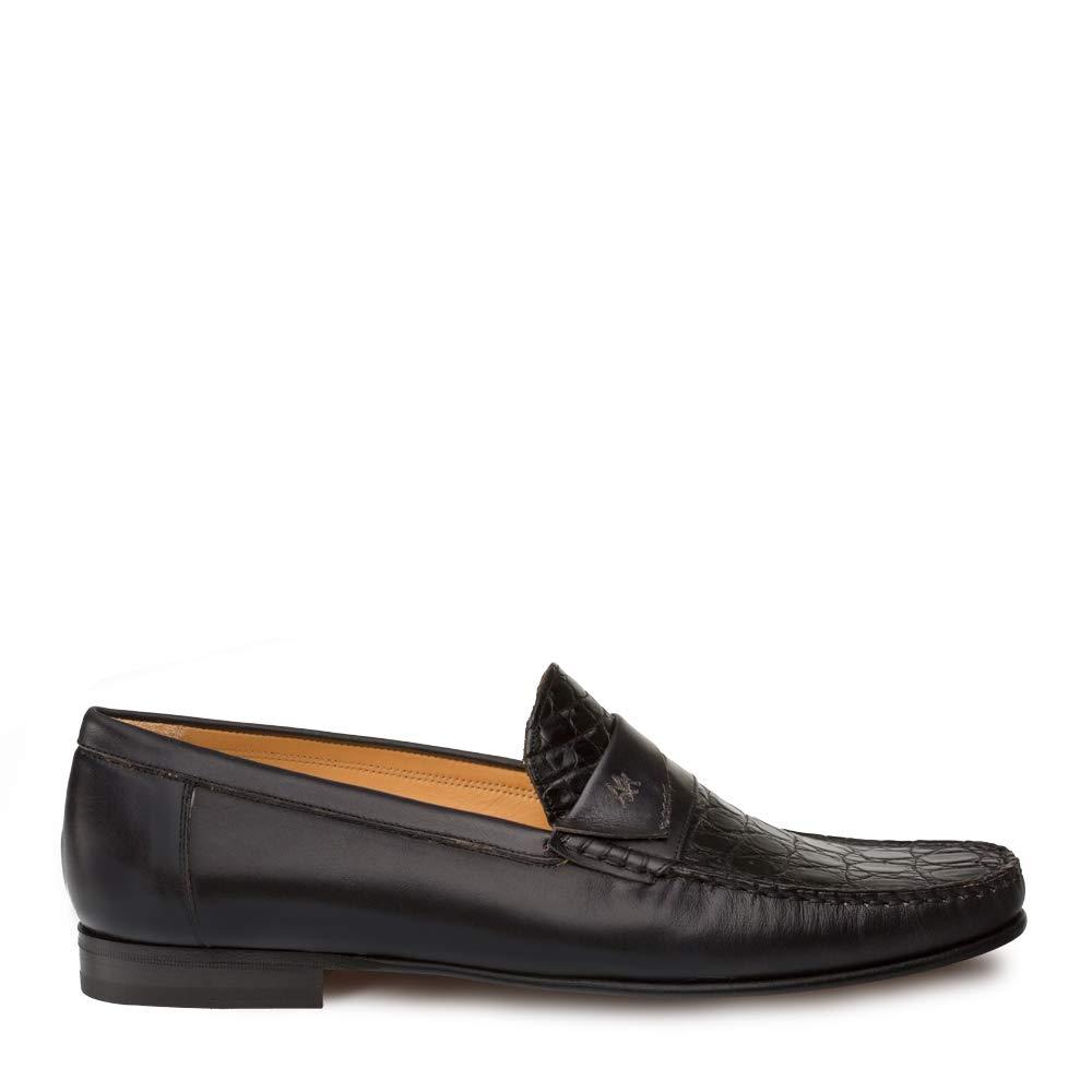 Mezlan SICA Mens Luxury Formal Loafers - Calfskin & Crocodile Slip-On Loafer with Leather Sole - Handcrafted in Spain - Medium Width (10.5, Black) by Mezlan (Image #4)
