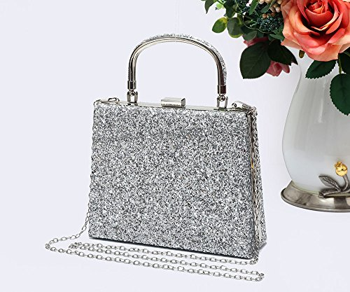 Prom Bag Women's Clutch silver Bag Shiny Sparkling Evening Wedding Party 23 Foxlady Crystals Diamante Silver ZXwSTqwP