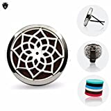 Air Freshener Aromatherapy Essential Oil Diffuser Locket With Vent Clip on - 316L Surgical Stainless Steel + 6 Refill pads for Car Home Office .