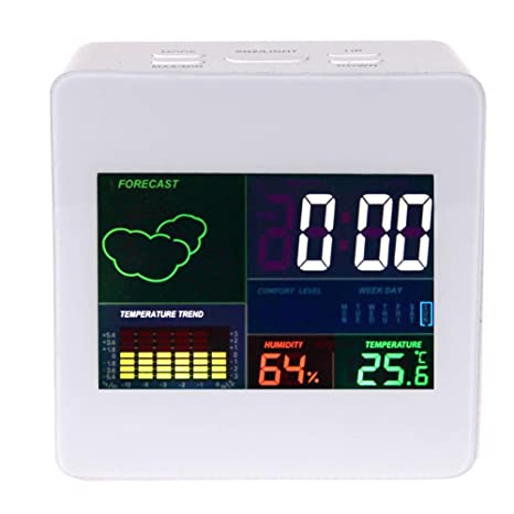 Alarm Clock - Multifunction Colorful Display Thermometer Hygrometer Lcd Termometro Desk Snooze Function Weather - Temperature