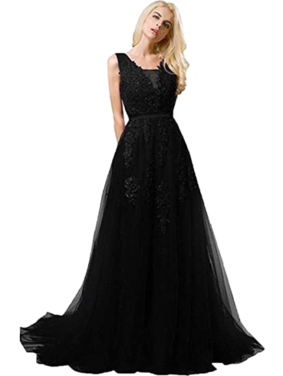 7149b97efa6fa Huifany Women's V Neck Lace A-line Empire Long Formal Evening Dress Prom  Gown