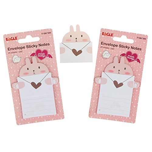 Eagle Cute Cartoon Envelope Sticky Notes, Self-Adhesive, Fold-able, for Private Messaging, Memo Pad, 2-Pack, 50 Sheets in Total (Rabbit)