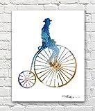 """Penny Farthing"" Abstract Watercolor High Wheel Bike Art Print By Artist DJ Rogers"