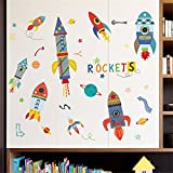IndButy Wall Stickers Cartoon Bedroom Children Room Rocket Decoration Wall Stickers Paper Cute Nursery Baby Toy Shop Stickers 6090CM