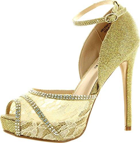 Bella Marie Womens Helena-20 Pumps Shoes,Gold,10