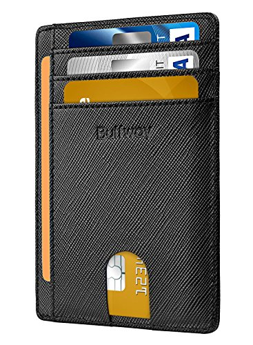 Slim Minimalist Leather Wallets for Men & Women - Cross Black by Buffway