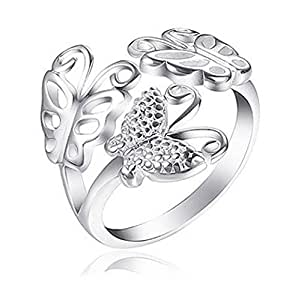 Adjustable Rings for women - Butterfly Ring - (one size fits all rings) Open Back adjustable butterflies ring band - fashion rings for women (Adjustable Butterfly Ring)