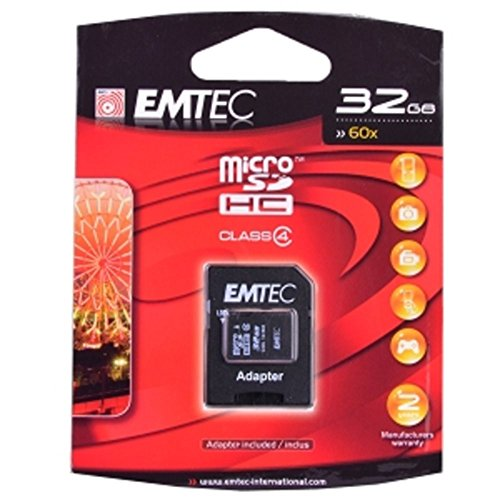 Microsd 60x Card Memory - Emtec 32GB 60x Class 4 microSDHC Memory Card w/SD Adapter Electronics Computers Accessories