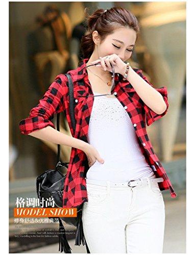 en Chemise Ru Xiang Rouge Carreaux Cotonnade Manches Noir Longues a Femme Classique 707wqS