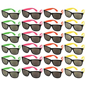 24-Pack Party Glasses - 80s Party Favors, Plastic Neon Sunglasses, Perfect for Bachelorette or Bachelor Party Supplies, Assorted Colors