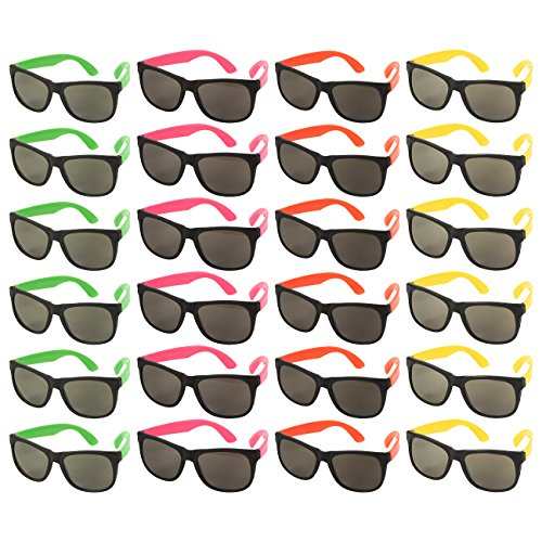 24-Pack Party Glasses - 80s Party Favors, Plastic Neon Sunglasses, Perfect for Bachelorette or Bachelor Party Supplies, Assorted Colors - The Rock Sunglasses With