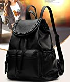 Fashion trend women soft leather shoulders bag College Wind leisure travel backpack WB77 Black