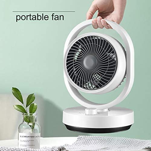 Portatile Ventilatore da Tavolo 3 velocità Forte Vento,Piccolo Ventilatore da Scrivania Ruotabile,Tranquillo E Potente Personale Ventilatore per Ufficio Camera da Letto Bianca
