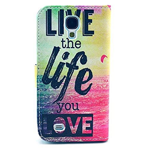 Galaxy S4 Case, M-Zebra Printed Series Light Color Design PU Leather Stand Wallet Type Magnet Design Flip Case Cover For Samsung Galaxy S4 i9500, with Screen Protectors+Stylus+Cleaning Cloth (Love)
