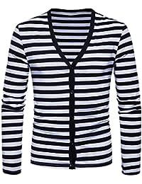 Zimaes Mens Single Breasted Long Sleeve Simple Stripe Knit Cardigan Sweater