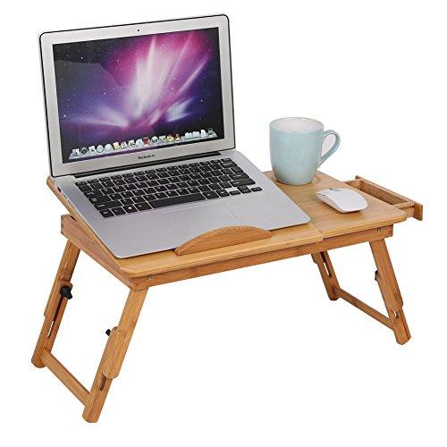 Mesa de computadora portátil bandeja de cama con bandeja para servir de pierna ajustable 100% hecho de bambú con plegable mesa de servir el desayuno en la cama