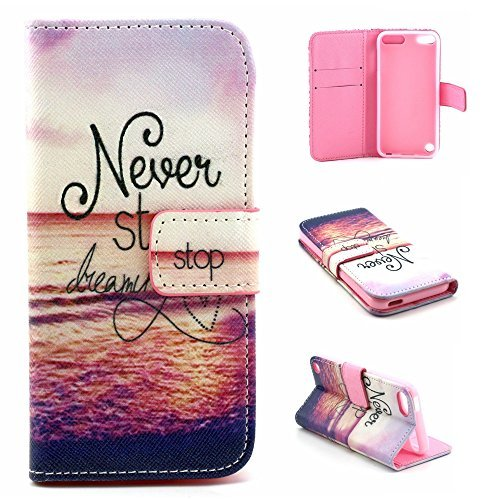 iPod Touch 5 Case, Jenny Shop New Design Dual Use Premium PU Leather Wallet Flip Case with Built-in Card Slots, Cash Pocket, Magnetic Closure for Apple iPod Touch 5th Generation (Never Stop Dreaming)