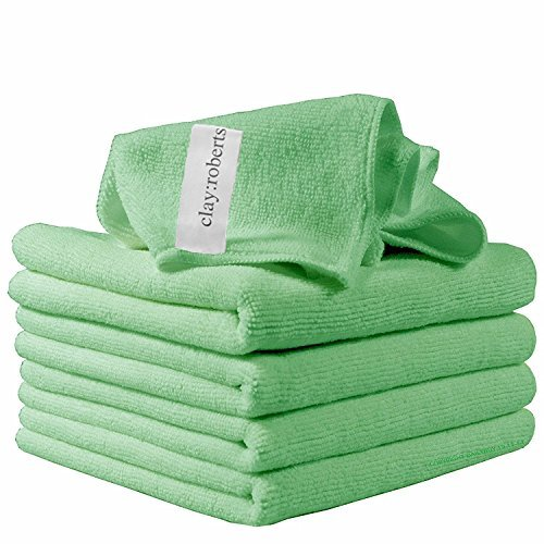 Green Cleaning Cloth - Microfiber Cleaning Cloths, 5 Pack, Green, Soft Microfiber Dusters, Machine Washable, Lint-Free Dust Cloths
