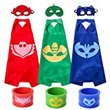 Ecparty Catboy Owlette and Gekko Costumes, Superheros Capes and Mask Matching Slap Bracelet for Kids Costume and Dress up