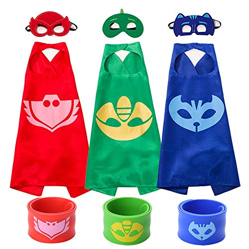 Ecparty Superheros Cape and Mask Matching Slap Bracelet for Kids Costume and Dress up (pj Masks) (pj Masks)