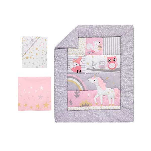 Bedtime Originals Rainbow Unicorn 3-Piece Crib Bedding Set, Purple 4