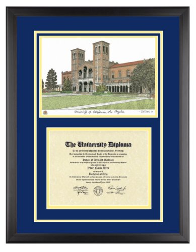 UCLA Diploma Frame with Artwork in Classic Black Frame