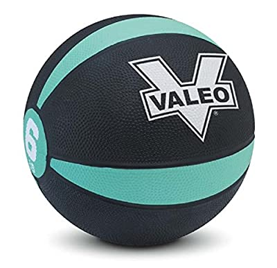 Valeo Pound Medicine Ball With Sturdy Rubber Construction And Textured Finish, Weight Ball Includes Exercise Wall Chart For Strength Training, Plyometric Training, Balance Training And Muscle Build