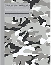 Camouflage Gray Composition Notebook - College Ruled: 130 Pages 7.44 x 9.69 Lined Writing Paper School Teacher Student Grey Camo Diary Planner To Do List Subject