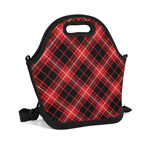 Work School Picnic Travel Outdoor Resuable Insulated Casual Neoprene Lunch Tote Bag For Adult Kids Large Space Red Black Checkerboard British Plaid Mosaic Food Savers Box With Shoulder Strap