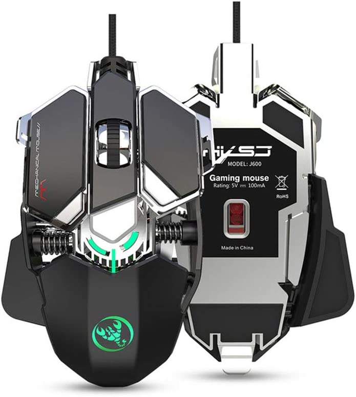 9 Key Mechanical Gaming Mouse with Programming,Colour Light Wired 6400Dpi Optical Games Mice,Ergonomic with USB Interface Computer Game Mouse