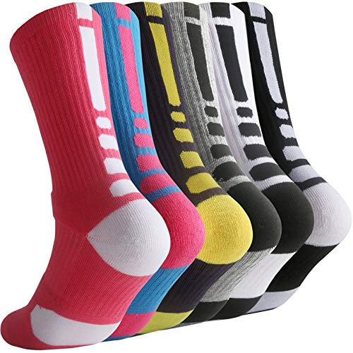 (Thsbird Mens Thicken Outdoor Sport Cushion Elite Basketball Socks,Dri-Fit Mid-Calf Compression Athletic Crew Socks Boy Girl Color 6Pack Style C Size M)