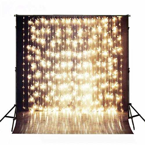 10X6.5ft Christmas Backdrops for Photography Costum Glitter Backdrop Spark Golden Light Background Wood Floor Backdrop Photography Props]()