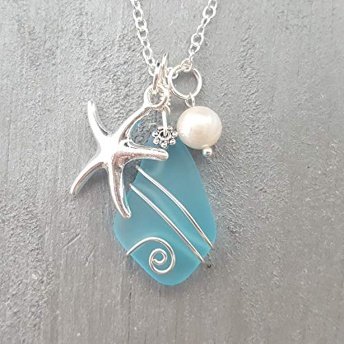 Free Gift Wrap - Handmade in Hawaii, Wire Wrapped Turquoise Bay blue sea glass necklace, Starfish charm, freshwater pearl, (Hawaii Gift Wrapped, Customizable Gift Message)