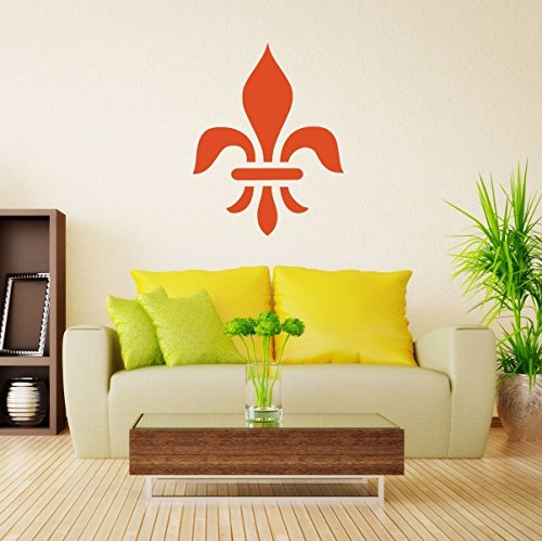 Large Fleur De Lis Wall Decal - French Themed Vinyl Decor Sticker - Symbol of Royalty for Living Room, Bedroom, Kitchen, Office ()