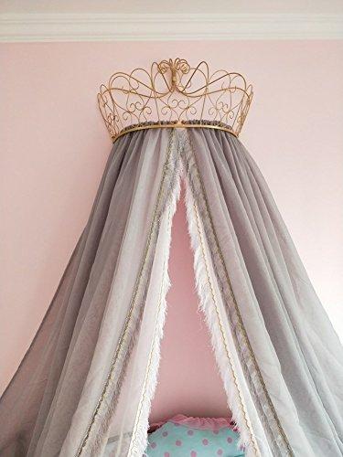 KQCNIFVNKLM Fringe Mosquito Net, Princess Beding Double European Butterfly Imitation Linen Bedding Crown Mosquito Netting