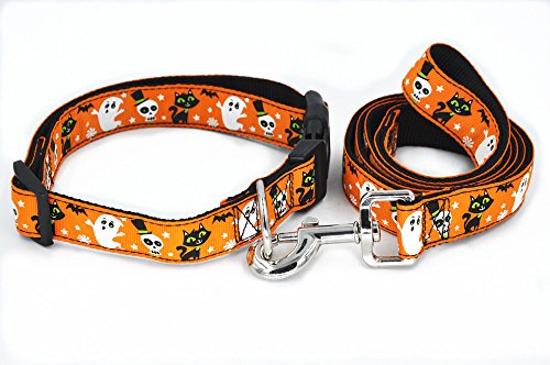 SLZZ Halloween Spirit Collection Designer Dog Collar and Leash Lead Set / Heavy Duty Adjustable for Small Medium Large Dogs - Light Orange Ghost Cat,S ()