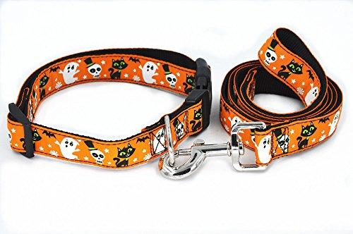 SLZZ Halloween Spirit Collection Designer Dog Collar and Leash Lead Set / Heavy Duty Adjustable for Small Medium Large Dogs - Light Orange Ghost Cat,S -