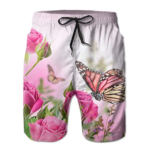 TARDIGA Roses and Flower Buds with Butterflies Men's Beach Shorts Swimming Trunks Quick Dry Board Short with Lining