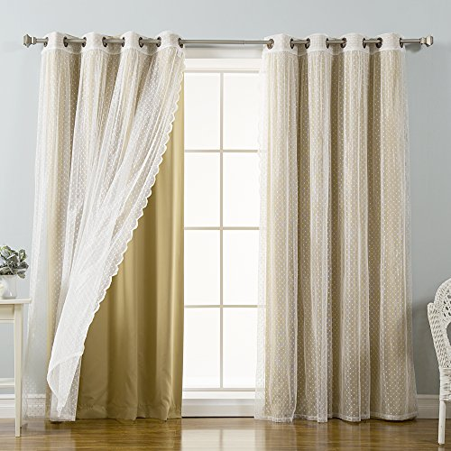 Best Home Fashion Mix & Match Dotted Tulle Lace & Solid Blackout Curtain Set – Antique Bronze Grommet Top – Wheat – 52