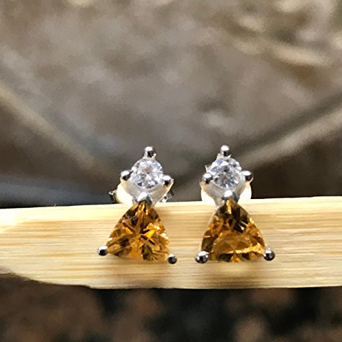 (Genuine 1.25ct Golden Citrine 925 Solid Sterling Silver Trillion Earrings 7mm)