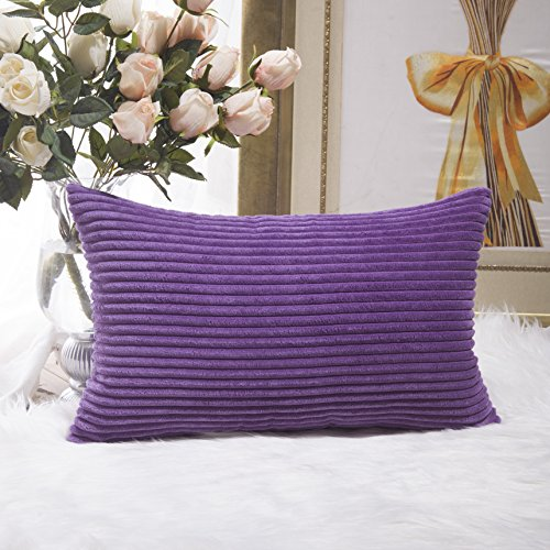 HOME BRILLIANT Decorative Plush Striped Velvet Corduroy Oblong Pillowcase Accent Cushion Cover, 12 x 20 inch, Eggplant Corduroy Accents