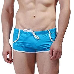 Black Star Men Sports Swimsuit Brand Swimming Briefs Pocket Sea Surfing Trunks Sexy Flexible Boxer Gray L