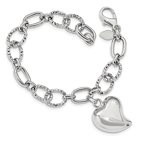 10mm Sterling Silver Rhodium Plated Polished Puffed Heart Charm Bracelet - 7 (10k Heart Charm Bracelet)