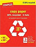 Staples 3-Hole Punch 30% Recycled Copy Fax Laser Inkjet Printer Paper, 8 1/2 x 11 Inch Letter Size, Punched, 20 lb., 92 Bright White, Acid Free, Ream, 500 Total Sheets (580524)